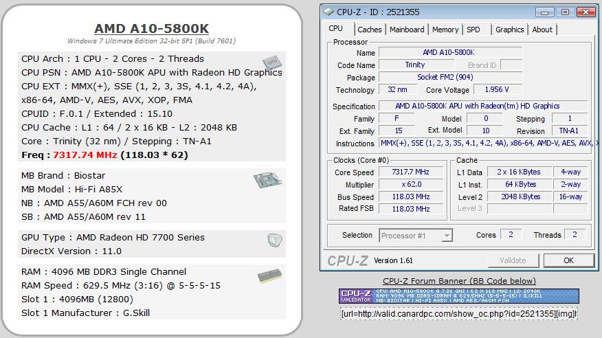 Chip Trinity OC lên 7,3 GHz – Chơi game mượt hơn Core i5
