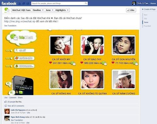 WeChat được rất nhiều Sao Việt quảng bá